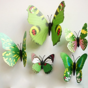 12 Pieces 3D Colourful Flying Bling Butterfly Nursery Room Baby Babyroom Wall Sticker Wall Decal