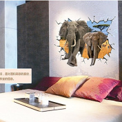 3D elephant sofa living room bedroom study background remove the PVC giant wall stickers self adhesive paper