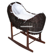 Luxury British Made Dark Wicker Noah Pod Moses Basket With White Dimple Covers And Rocking Stand