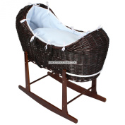 Luxury British Made Dark Wicker Noah Pod Moses Basket With Blue Waffle Covers And Rocking Stand