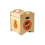 Dida - The Troncotti - pouffe container in wood - cube base with 4 wheels + Cover Decorations
