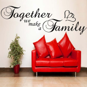 Together we make a Family with Heart ...Wallsticker Wallart bedroom bathroom sticker -SMALL -SIZE 60cm x 20cm -Beige