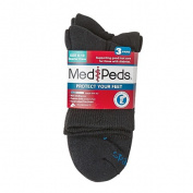 MediPeds Men's Quarter Crew Socks 3 Pack