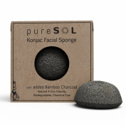 Konjac Sponge - Activated Charcoal - Facial Sponge, 100% Natural Sponge, Eco-Friendly - Gentle Exfoliating Sponge, Deep Cleansing, Improved Skin Texture - Konjac Facial Cleansing Sponge - Natural Beauty Products -Free of Chemicals, Parabens, Sulphates, ..