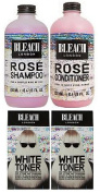 (4 PACK) Bleach London Rose Shampoo 250ml & Bleach London Rose Conditioner 250ml & Bleach London White Toner Kit x 2
