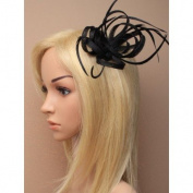 Allsorts Black Clip Feather Fascinator Wedding Ladies Day Race Royal Ascot