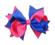 PrettyBoutique 14cm Girls 2 Colours Large Grosgrain Hair Bow Alligator Clip