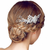 Miya® 1 Mega Glamour Bridal Comb Hair Comb Hair Comb with Lovely Flowers, Embellished with Pearls & Crystals - Bridal Jewellery Wedding/Confirmation (, Flower YY04