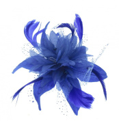 Blue Star Flower Hair Fascinator with Royal Blue Feathers Mounted on a comb for Special Outings