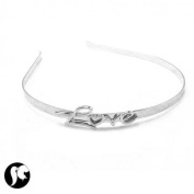Headband Silver-Plated Metal Hair Love
