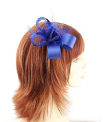 Stunning Royal Blue Satin Bow Hair Fascinator with matching Sinamay Flower & Leaves and shaped feathers on sprung clip