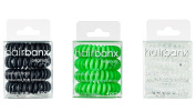 hairbanx Originals 3 Packs of Hair Rings & Hair Ties Black, Apple Green, Crystal - perfect hold for all hair types, 3 x 4 Pcs