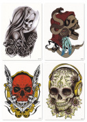 Bbei Temporary Tattoos, Pack of 4 Sheets