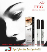 3 X BEST Eyebrow Growth Product Most Effective Growth Serum with Conditioner used to LENGTHEN & THICKEN Eyebrows; FEG is a Powerful Stimulator Treatment that Prevents Thinning & Breakage; Helps Promote Vitality & Strength. 100% Original with Anti-Fake ..