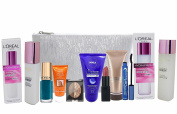 10pc Loreal Hydrafresh Hydration & Makeup Set Lipstick, Mascara, Foundation, Eyeshadow, Varnish & Bag