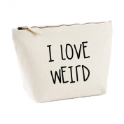 I Love Weird Statement His And Hers Matching Canvas Bags MakeUp Case Toiletries