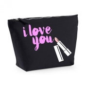 I Love You Lipstick Message Any Message Any Colour Cute Statement Canvas MakeUp Bag Gift Case Cosmetic Clutch