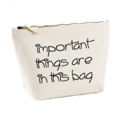 Important Things Are In This Bag Simple Statement Canvas MakeUp Case Cosmetic Clutch
