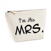 I'm His Mrs His And Hers Matching Canvas Bags MakeUp Toiletries Case Men's Gift Idea