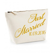 Just Married Personalised With Date Wedding Gift MakeUp Bag Canvas Case Cosmetic Clutch