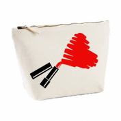 Lipstick Scribble Heart Message Any Colour Cute Statement Canvas MakeUp Bag Gift Case Cosmetic Clutch