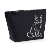 Simple Fox Sitting Cute Autumn Animals Print Canvas MakeUp Bag Gift Case Cosmetic Clutch