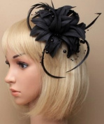 Black Beads Fabric & Feather Hair Fascinator, Brooch & Corsage For all Your Special Occasions