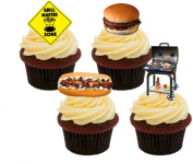 BBQ / Barbecue, Fun Edible Cake Decorations - Stand-up Wafer Cupcake Toppers