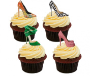 Designer Shoes Edible Cake Decorations - Stand-up Wafer Cupcake Toppers