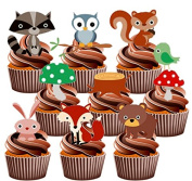 Children's Woodland Creatures Party Pack, Cake Decorations - 36 Edible Stand-up Cupcake Toppers
