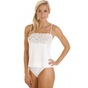 Camille Womens Ladies Luxury White Camisole Lace Trim Top
