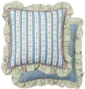 BOS21 Bohemian Style Cushion cover / Pillow case - Frills and flowers - Double design - Blue - NO TICKING ca. 40cm x 40cm