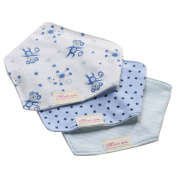 Bebedou 3 PACK Super Absorbent Pure Cotton Stylish Bandana / Dribble Bib for Babies and Toddler BLUE MONKEY