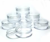 10x 20mL EMPTY PLASTIC JARS POTS w/ CLEAR SCREW LIDS for Powders/NailArt/Glitter/Make Up/Cosmetic/Travel/Creams