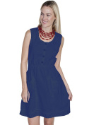 Scully PSL-164-DBL-XXL Womens Cantina Cotton Lace Tie Pocket Sundress Dark Blue - 2X-Large