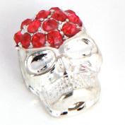 RUBYCA 50pcs Skull Beads Sideway Connector Shamballa Bracelet Silver Colour Light Siam Red Crystal