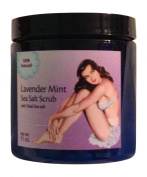 Body Scrub Exfoliator with Mineral Rich Sea Salts, Blended with Light Oils and Scented with Lavender and Mint Essential Oils. Leaves Body Refreshed - Skin Soft and Smooth, 330mls