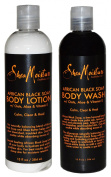 Shea Moisture African Black Soap Body Wash and Body Lotion with Oats Aloe and Vitamin E Set of 2