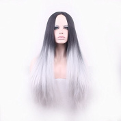 New Fashion 65cm Straight Black Root to Grey Ombre Synthetic Wig High Quality Ombre Wig