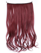 SWACC Straight/Curly Halo Wire Hidden Hairpiece Flip Synthetic Hair Extensions NO Clip Ins 80G