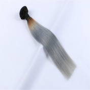 Angelbabyhair 1b/Grey Hair Extensions Human Hair 1pc Grey Hair Weave Ombre Grey Hair 60cm