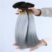 Angelbabyhair 7A Grade Brazilian Virgin Human Hair Ombre Hair Extensions 1B Grey Hair Weave 46cm pack of 3