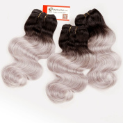 MyNiceHair-- 3 Bundles 36cm 36cm 36cm Inches Brazilian Two Tone Ombre 1B/Silver Grey Human Remy Hair Extensions Weave Body Wave 300g, Thick and Full