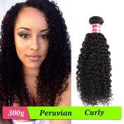 Isee Hair Unprocessed Peruvian Hair 3 Bundles Deep Curly Hair Extensions,Human Sexy Curly Hair Weaves Natural Black Mix Length 14 16 46cm