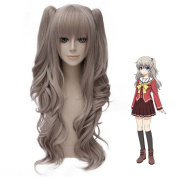Flovex Long Wavy Grey Womens Anime Cosplay Wig Charlotte Tomori Nao Costume Party Daily Hair with Wig Cap