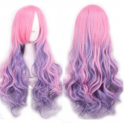 Women's Wig Three Tone Gradient Colour Cute Long Hair Extensions Heat Resistant Curly Cosplay Wigs Harajuku Style Lolita Hairpiece