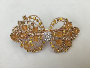 Gorgeous Vintage Jewellery Crystal Rhinestones Bow Design Hair Barrette Clips Hair Clips- Large Size - Amber Colour -For Hair Beauty Tools