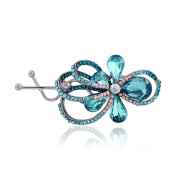 TEEMI Women Crystal Flower hairpins Rhinestone Barrettes Hair Clips ZFS0019-BLUE