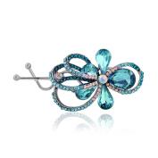 TEEMI Women Crystal Flower hairpins Rhinestone Barrettes Hair Clips ZFS0019-BLUE