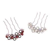 TEEMI Multicolor Flower Rhinestone Hair Pins,Crystal Hair Comb For women ZFS0038-5